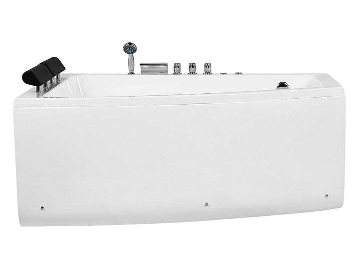Wanna narożna biała akrylowa 182 x 121 cm prawostronna hydromasaż dysze wodne z zagłówkami Stal Kolor Biały Kategoria Wanny