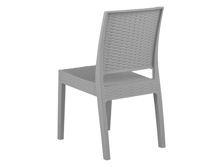 Zestaw 2 krzeseł ogrodowych jasnoszary tworzywo sztuczne sztaplowane na taras do ogrodu Krzesła tradycyjne Styl Minimalistyczny Styl Nowoczesny