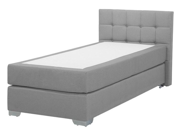 Łóżko kontynentalne jasnoszare tapicerowane 90 x 200 cm jednoosobowe z materacem i pikowanym zagłówkiem