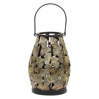 Lampion w liście miłorzębu złoty metalowy 25 cm ze szklanym wkładem na świeczkę