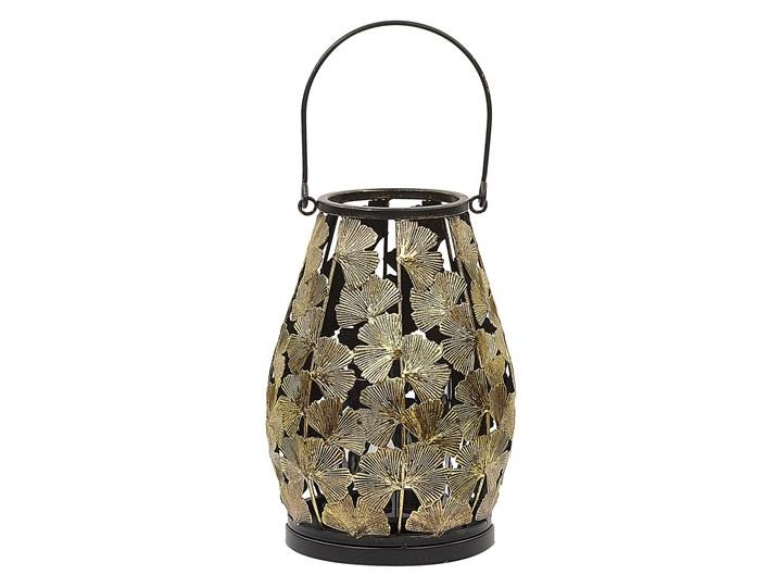Lampion w liście miłorzębu złoty metalowy 25 cm ze szklanym wkładem na świeczkę Szkło Świecznik Kategoria Świeczniki i świece