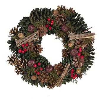 Wieniec świąteczny zielony drewniany plastikowy szyszki okrągły 35 cm tradycyjny wygląd