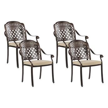 Zestaw 4 krzeseł ogrodowych brązowy aluminium z beżowymi poduchami vintage