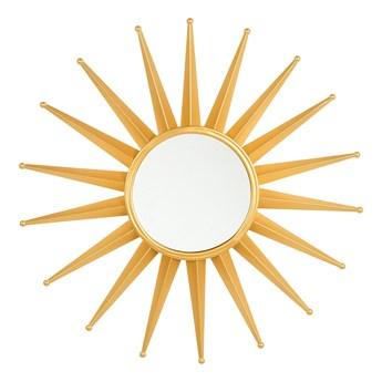 Lustro wiszące ścienne złote 60 cm okrągłe metalowe promienie słońca glamour vintage do salonu sypialni