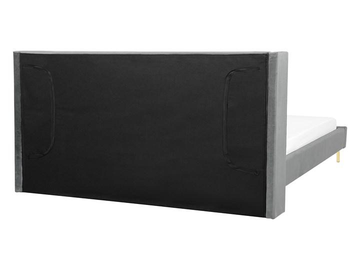 Łóżko szare welurowe dwuosobowe 180 x 200 cm ze stelażem zagłówek retro Łóżko tapicerowane Kategoria Łóżka do sypialni Kolor Szary