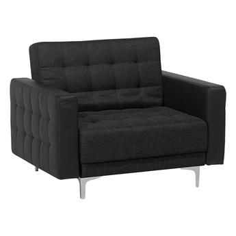 Fotel rozkładany grafitowy pikowany nowoczesny styl srebrne nogi Beliani