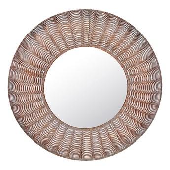 Lustro ścienne miedziane metalowa rama okrągłe 77 cm wiszące dekoracyjne styl glamour do salonu sypialni przedpokoju