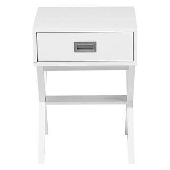 Stolik biały z szufladką 55 x 40 cm kwadratowy blat styl skandynawski
