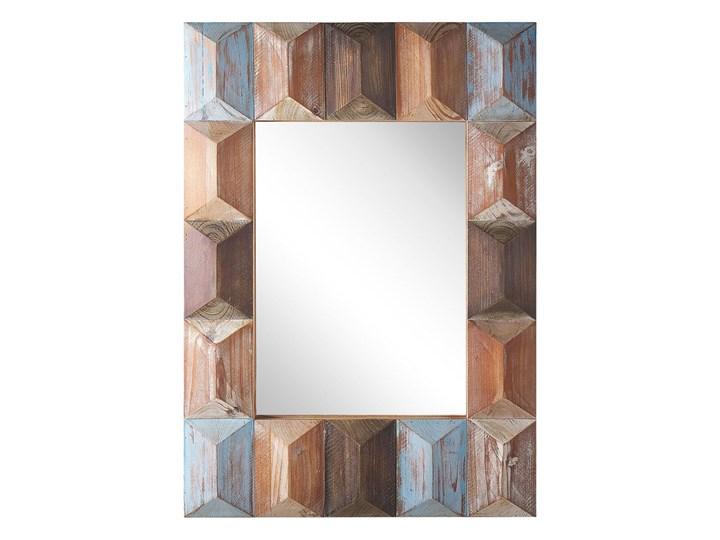Lustro ścienne wielokolorowe drewniana prostokątna rama  63 x 90 cm ręcznie wykonane postarzane boho Prostokątne Lustro z ramą Kategoria Lustra