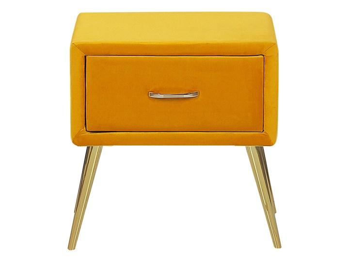 Szafka nocna żółta tapicerowana welurem 1 szafka stolik nocny minimalistyczny design Tworzywo sztuczne Pomieszczenie Sypialnia Metal Płyta MDF Drewno Styl Nowoczesny