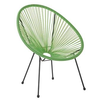 Krzesło fotel balkonowy zielone technorattan balkon taras ogród okrągły papasan