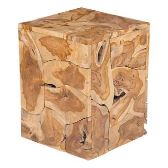 Stolik kawowy jasne drewno tekowe kwardatowy 44 x 34 cm kostka styl boho