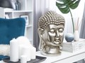 Figura dekoracyjna srebrna stojąca głowa Buddy 41 cm Ludzie Rośliny Kolor Srebrny Tworzywo sztuczne Kategoria Figury i rzeźby
