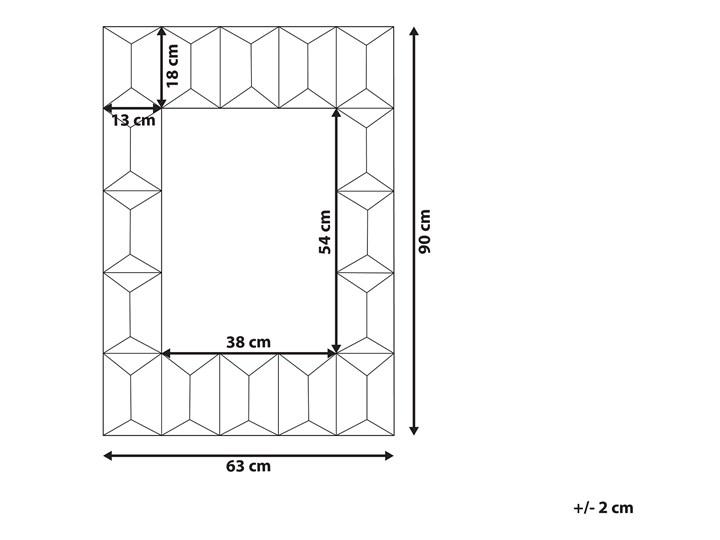 Lustro ścienne wielokolorowe drewniana prostokątna rama  63 x 90 cm ręcznie wykonane postarzane boho Lustro z ramą Prostokątne Styl Rustykalny