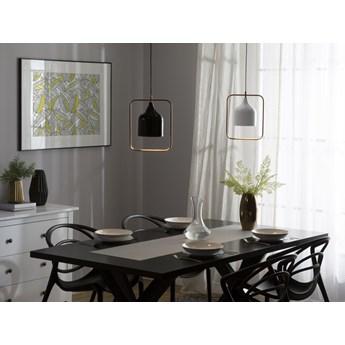 Lampa sufitowa biała metalowa 121 cm miedziana rama wysoki połysk industrialna