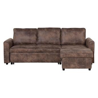 Narożnik rozkładany brązowy tapicerowany trzyosobowy nowoczesna narożna sofa do salonu z pojemnikiem lewostronna