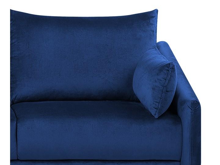 Narożnik prawostronny niebieski welurowy kolorowy LED 3-osobowy 2 poduszki dekoracyjne styl nowoczesny W kształcie L Kategoria Narożniki