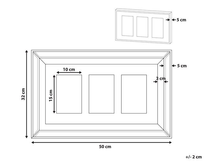 Multiramka ciemne drewno drewniana lustrzana 32 x 50 cm na zdjęcia 3 fotografie 10 x 15 cm kolaż wisząca Pomieszczenie Sypialnia