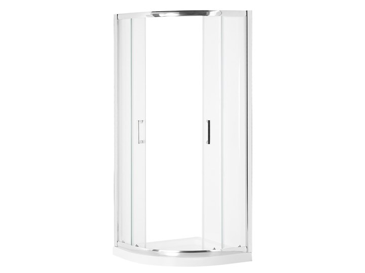 Kabina prysznicowa srebrna szkło hartowane aluminum podwójne drzwi półokrągłe 80x80x185cm nowoczesny design Narożna Rodzaj drzwi Rozsuwane Kategoria Kabiny prysznicowe