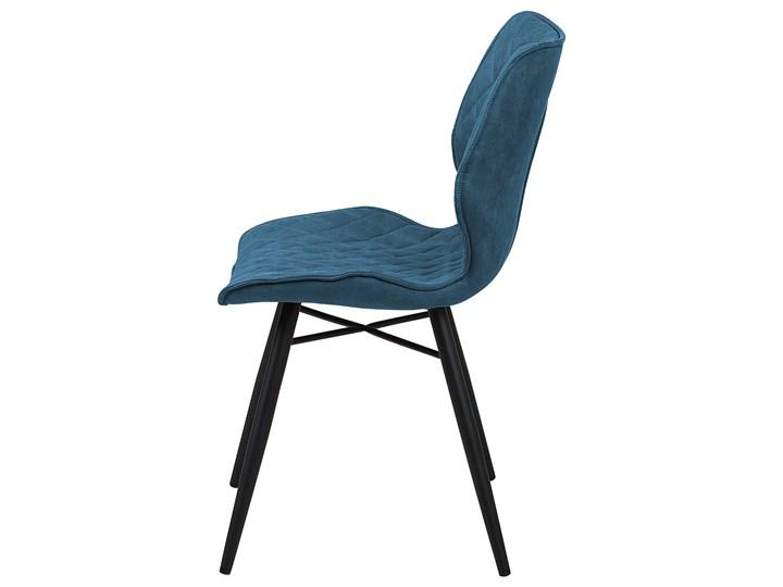 Zestaw 2 krzeseł niebieskich tapicerowanych z metalowymi czarnymi nogami do jadalni styl nowoczesny industrialny Styl Vintage Pikowane Wysokość 86 cm Tkanina Głębokość 56 cm Tworzywo sztuczne Tapicerowane Szerokość 44 cm Drewno Pomieszczenie Jadalnia