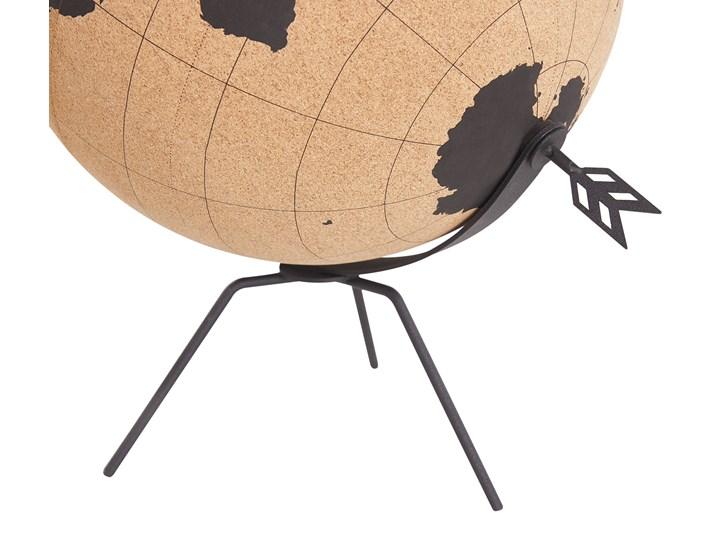 Figurka dekoracyjna globus brązowy korek 25 cm Metal Globusy Kolor Czarny
