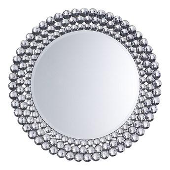 Lustro wiszące ścienne srebrne okrągłe 70 cm dekoracyjne