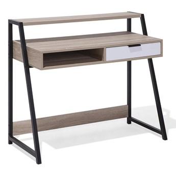 Biurko jasnobrązowe 100 x 50 cm z nadstawką i szufladą pod komputer