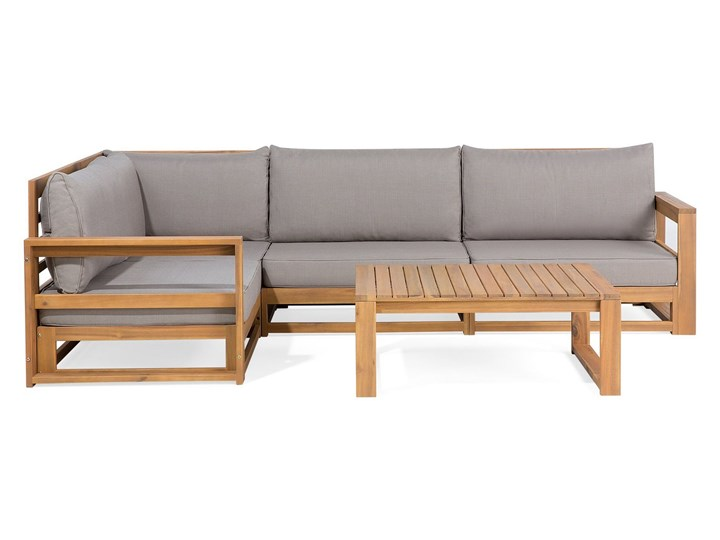 Zestaw mebli ogrodowych jasne drewno akacjowe narożnik szare poduszki stolik kawowy
