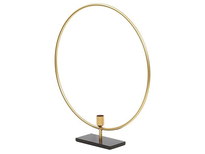 Świecznik złoty metalowy 45 cm ozdoba koło dekoracja na stół styl glam Kategoria Świeczniki i świece