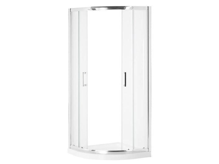 Kabina prysznicowa srebrna szkło hartowane aluminum podwójne drzwi półokrągłe 90x90x185cm nowoczesny design Kategoria Kabiny prysznicowe Narożna Rodzaj drzwi Rozsuwane