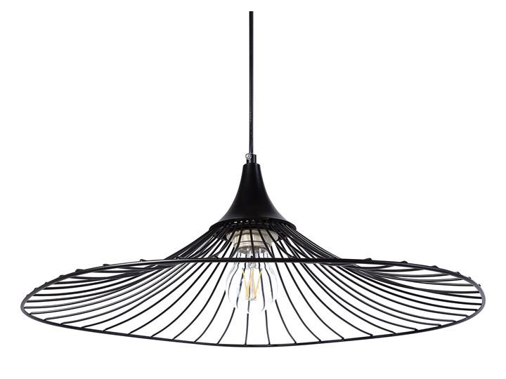 Lampa sufitowa wisząca czarna metalowy klosz industrialny design sypialnia kuchnia Kolor Czarny Lampa druciana Lampa z kloszem Kategoria Lampy wiszące