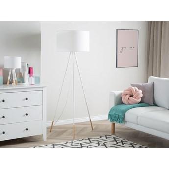 Lampa stojąca biała 157 cm trójnóg okrągły abażur metalowo-drewniane nogi nowoczesna