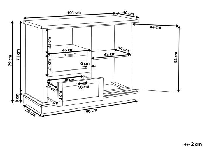 Komoda jasne drewno 100 x 40 x 79 cm szafka i 2 szuflady Głębokość 40 cm Szerokość 100 cm Kategoria Komody Płyta MDF Styl Nowoczesny