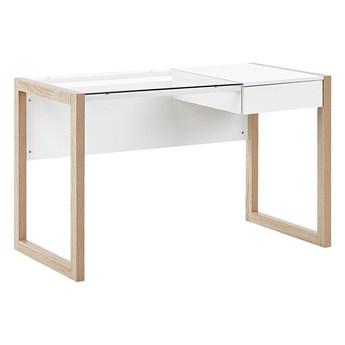 Biurko domowe białe drewniane 1 szuflada szklany blat minimalistyczny design 120 x 60 cm