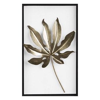 Dekoracja ścienna biało-złota liść 50 x 30 cm metalowa ozdoba styl nowoczesny