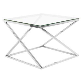 Stolik kawowy do salonu srebrny przeźroczysty szklany blat kwadratowa metalowa połyskująca rama 60 x 60 x 45 cm glamour design