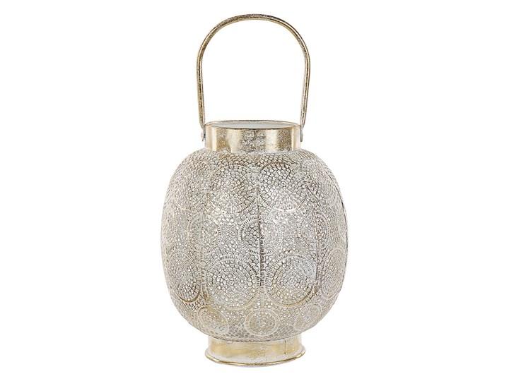 Lampion złoty metalowy 30 cm ze szklanym wkładem na świeczkę boho orientalny ażurowy Szkło Kategoria Świeczniki i świece