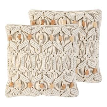 Dwie poduszki dekoracyjne beżowe makrama plecione 45 x 45 cm z wypełnieniem akcesoria boho retro salon sypialnia