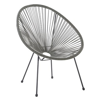 Krzesło fotel balkonowy szare technorattan balkon taras ogród okrągły papasan