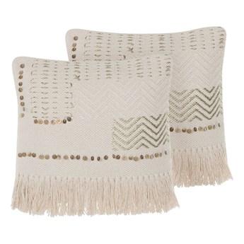Zestaw 2 poduszek dekoracyjnych beżowy bawełniany z frędzlami 45 x 45 cm z wypełnieniem ozdobny akcesoria boho retro salon sypialnia