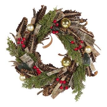 Wieniec świąteczny zielono-czerwony drewniany plastikowy sztuczne szyski żurawina okrągły 35cm tradycyjny wygląd