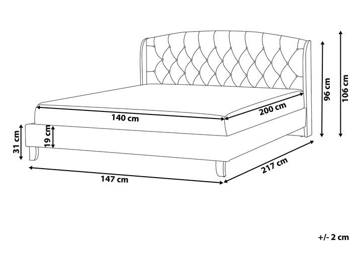 Łóżko beżowe tapicerowane 140 x 200 cm ze stelażem i pikowanym zagłówkiem Łóżko tapicerowane Kategoria Łóżka do sypialni Kolor Beżowy