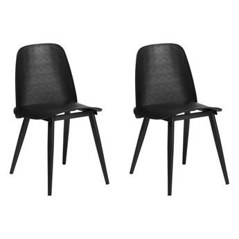 Zestaw 2 krzeseł obiadowych czarne plastikowe siedzisko metalowe nóżki nowoczesny styl