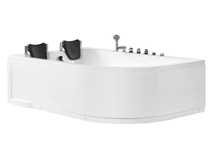 Wanna narożna z hydromasażem biała akrylowa z oświetleniem LED i zagłówkami prawostronna