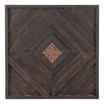 Dekoracja ścienna z ciemnego drewna tekowego z recyklingu 70 x 70 cm kwadratowa styl rustykalny