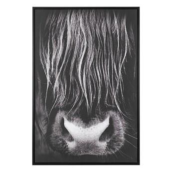 Obraz na płótnie czarny 93 x 63 cm byk polyester rama MDF nowoczesny
