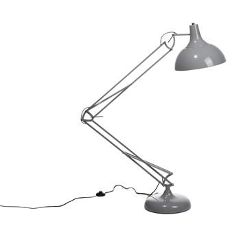 Lampa podłogowa stojąca szara metalowa ruchome ramie 180 cm Skandynawski design do salonu i sypialni