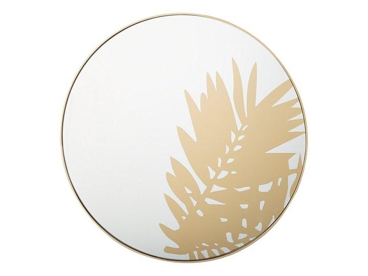 Lustro ścienne wiszące złote okrągłe 56 cm ozdobne kwiat liść dekoracyjne salon przedpokój sypialnia