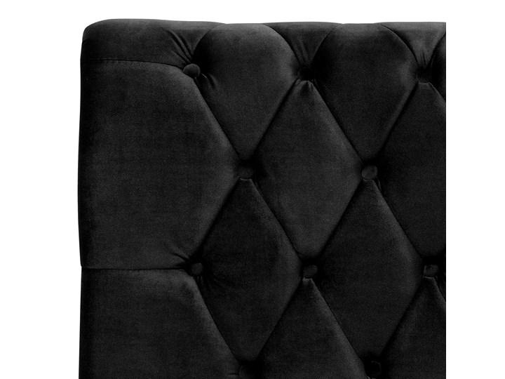 Łóżko ze stelażem czarne welurowe 180 x 200 cm z zagłówkiem pikowane styl glamour Kolor Czarny Drewno Łóżko pikowane Łóżko tapicerowane Pojemnik na pościel Bez pojemnika