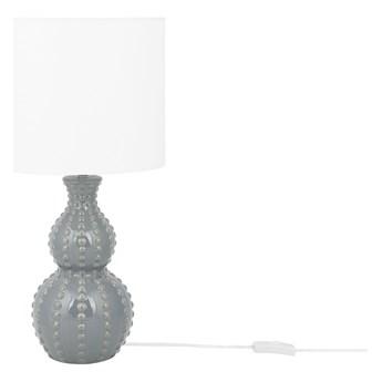 Lampa stołowa szara ceramiczna z białym kloszem 59 cm w kropki lampka nocna styl nowoczesny